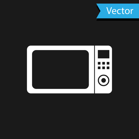 White Microwave oven icon isolated on black background. Home appliances icon.Vector Illustration