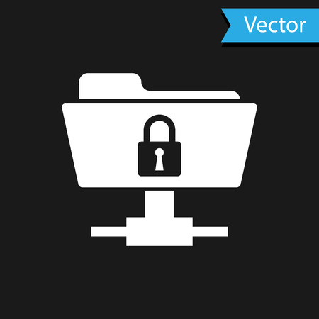 White FTP folder and lock icon isolated on black background. Concept of software update, ftp transfer protocol. Security, safety, protection concept. Vector Illustration Standard-Bild - 123386685