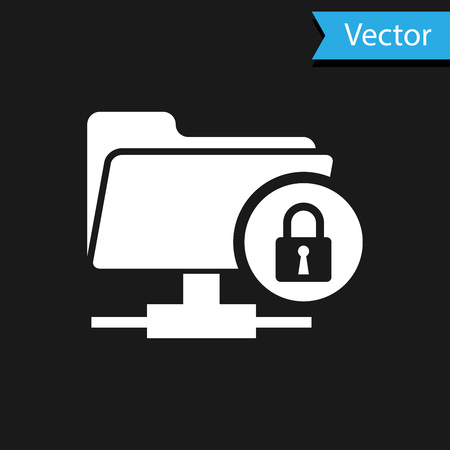 White FTP folder and lock icon isolated on black background. Concept of software update, ftp transfer protocol. Security, safety, protection concept. Vector Illustration