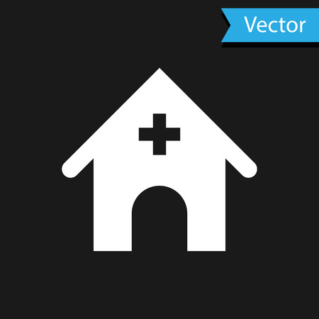 White Veterinary medicine hospital, clinic or pet shop for animals icon isolated on black background. Vet or veterinarian clinic. Vector Illustration