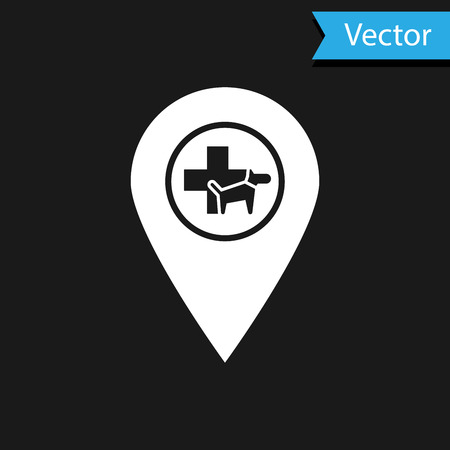 White Map pointer with veterinary medicine hospital, clinic or pet shop for animals icon isolated on black background. Vet or veterinarian clinic. Vector Illustration