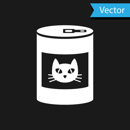 White Canned food for cat icon isolated on black background. Food for animals. Pet dog food can. Vector Illustration
