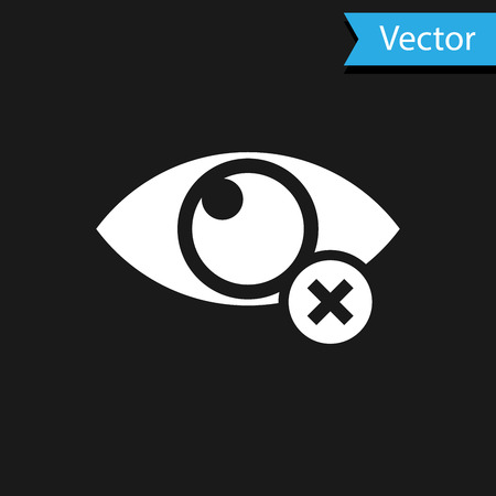 White Invisible or hide icon isolated on black background. Vector Illustration Illustration