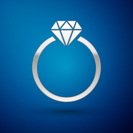 Silver Diamond engagement ring icon isolated on blue background. Vector Illustration Illustration