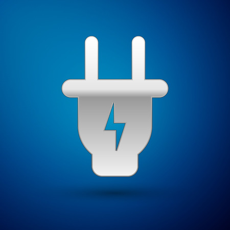 Silver Electric plug icon isolated on blue background. Concept of connection and disconnection of the electricity. Vector Illustration
