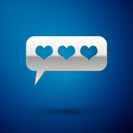 Silver Like and heart icon isolated on blue background. Counter Notification Icon. Follower Insta. Vector Illustration