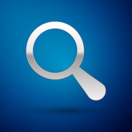 Silver Magnifying glass icon isolated on blue background. Search, focus, zoom, business symbol. Vector Illustration Illustration