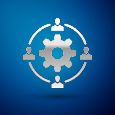 Silver Outsourcing concept icon isolated on blue background. Cooperation sign. Idea of teamwork and investment. Vector Illustration