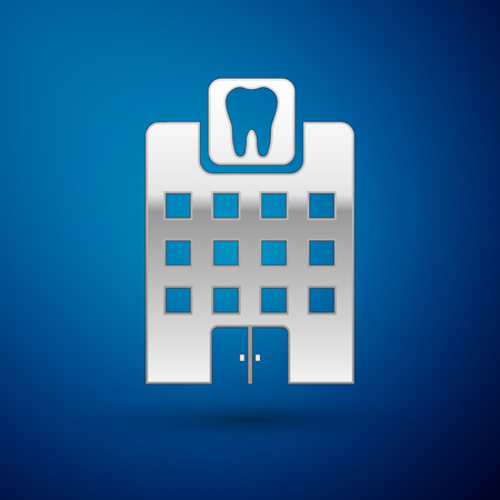Silver Dental clinic icon isolated on blue background. Dentistry center symbol. Vector Illustration