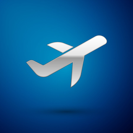 Silver Plane icon isolated on blue background. Flying airplane icon. Airliner sign. Vector Illustration Illustration