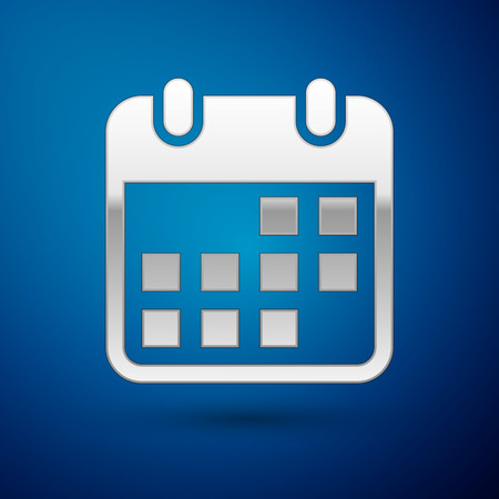 Silver Calendar icon isolated on blue background. Vector Illustration