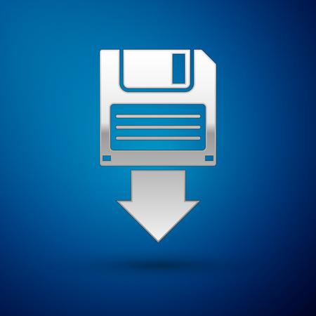 Silver Floppy disk backup icon isolated on blue background. Diskette sign. Vector Illustration Illustration