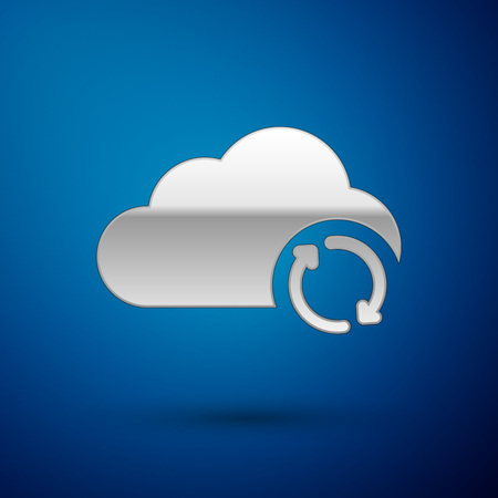 Silver Cloud sync refresh icon isolated on blue background. Cloud and arrows. Vector Illustration