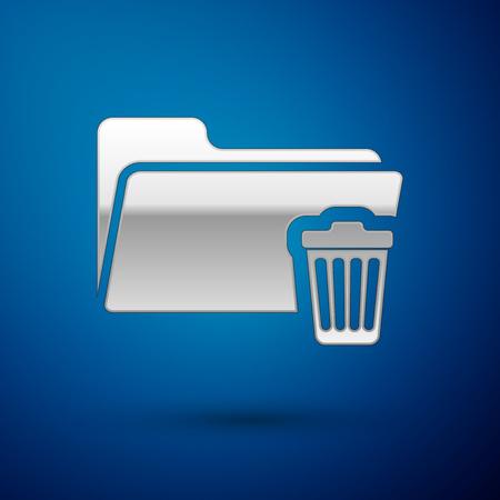 Silver Delete folder icon isolated on blue background. Folder with recycle bin. Delete or error folder. Close computer information folder sign. Vector Illustration