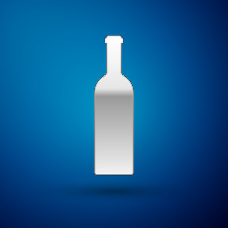 Silver Bottle of wine icon isolated on blue background. Vector Illustration 일러스트