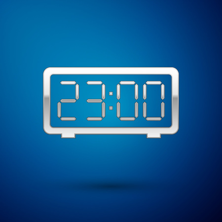 Silver Digital alarm clock icon isolated on blue background. Electronic watch alarm clock. Time icon. Vector Illustration