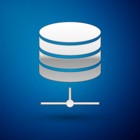 Silver Server, Data, Web Hosting icon isolated on blue background. Vector Illustration Çizim