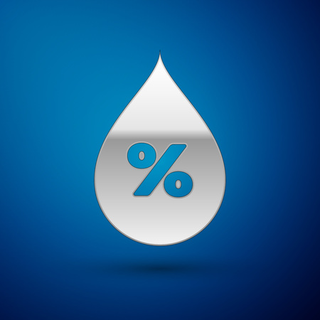 Silver Water drop percentage icon isolated on blue background. Humidity analysis. Vector Illustration