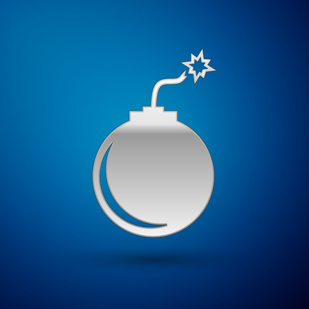 Silver Bomb ready to explode icon isolated on blue background. Vector Illustration