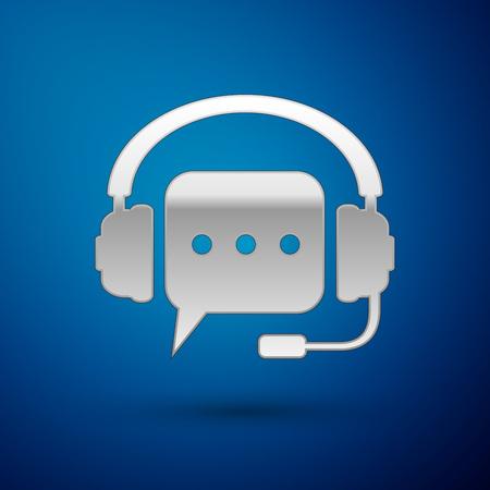 Casque argent avec icône bulle sur fond bleu. Support service client, hotline, centre d'appels, directive, faq, maintenance, assistance. Illustration vectorielle