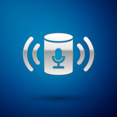 Silver Voice assistant icon isolated on blue background. Voice control user interface smart speaker. Vector Illustration