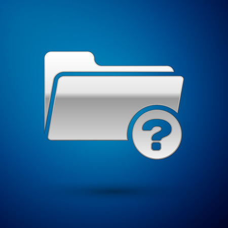 Silver Unknown directory icon isolated on blue background. Magnifying glass and folder. Vector Illustration 矢量图像