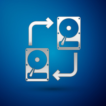 Silver A fixed data storage device hard disk with arrows, data copy icon isolated on blue background. Data exchange with hard disk drive. Transfer sign. Vector Illustration