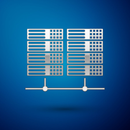 Silver Server, Data, Web Hosting icon isolated on blue background. Vector Illustration Illustration