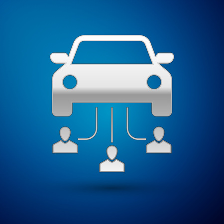 Silver Car sharing with group of people icon isolated on blue background. Carsharing sign. Transport renting service concept. Vector Illustration