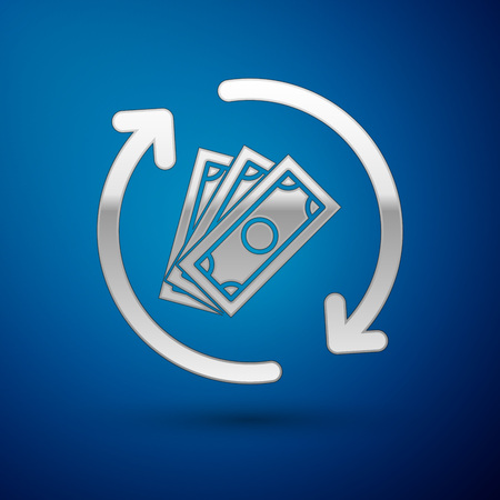 Silver Refund money icon isolated on blue background. Financial services, cash back concept, money refund, return on investment, savings account. Vector Illustration