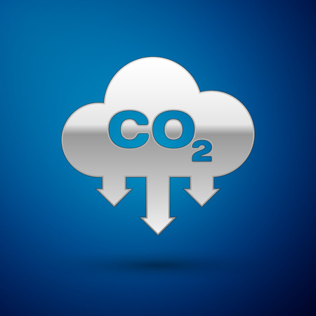 Silver CO2 emissions in cloud icon isolated on blue background. Carbon dioxide formula symbol, smog pollution concept, environment concept. Vector Illustration