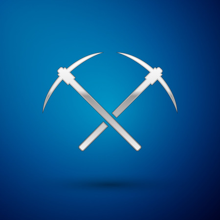 Silver Crossed pickaxe icon isolated on blue background. Blockchain technology, cryptocurrency mining, bitcoin, altcoins, digital money market. Vector Illustration Ilustrace
