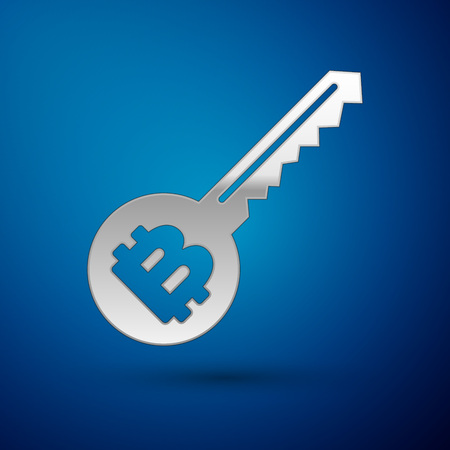 Silver Cryptocurrency key icon isolated on blue background. Concept of cyber security or private key, digital key with technology interface. Vector Illustration Ilustração
