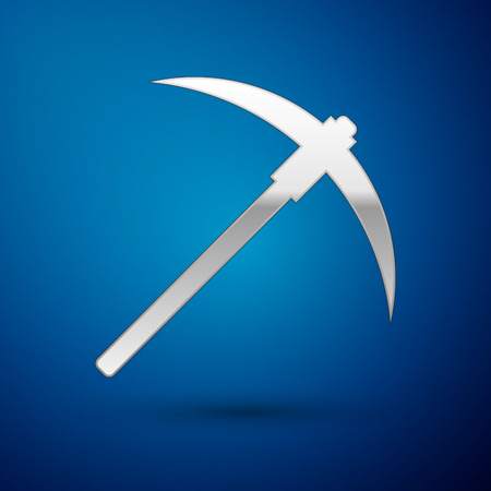 Silver Pickaxe icon isolated on blue background. Blockchain technology, cryptocurrency mining, bitcoin, digital money market, cryptocoin wallet. Vector Illustration