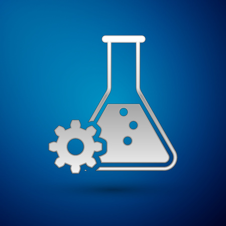 Silver Bioengineering icon isolated on blue background. Element of genetics and bioengineering icon. Biology, molecule, chemical icon. Vector Illustration Illustration