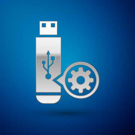 Silver USB flash drive and gear icon isolated on blue background. Adjusting app, service concept, setting options, maintenance, repair, fixing. Vector Illustration