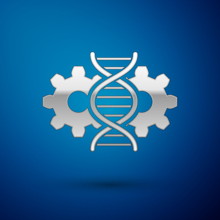 Silver Gene editing icon isolated on blue background. Genetic engineering. DNA researching, research. Vector Illustration
