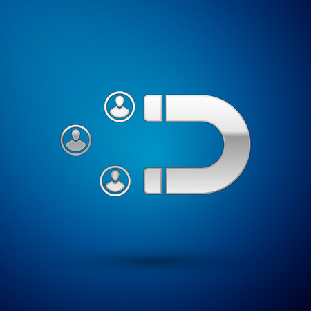 Silver Customer attracting icon isolated on blue background. Customer retention, support and service. Customer people attracting with magnet. Vector Illustration