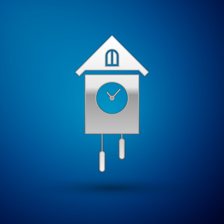 Silver Retro wall watch icon isolated on blue background. Cuckoo clock sign. Antique pendulum clock. Vector Illustration