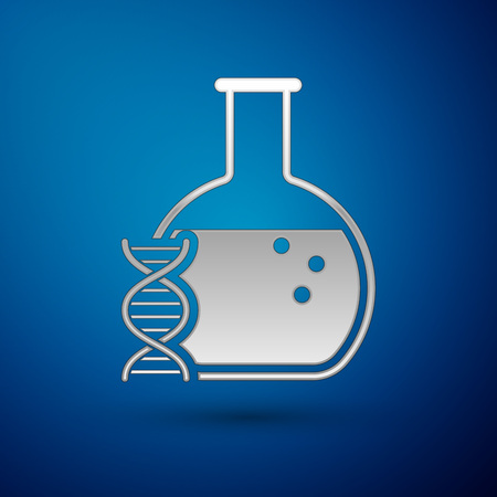 Silver DNA research, search icon isolated on blue background. Genetic engineering, genetics testing, cloning, paternity testing. Vector Illustration