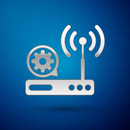 Silver Router and wifi signal and gear icon isolated on blue background. Adjusting app, service concept, setting options, maintenance, repair, fixing. Vector Illustration Illustration