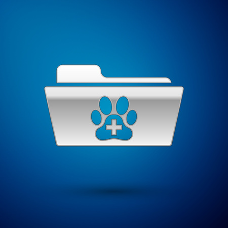 Silver Medical veterinary record folder icon isolated on blue background. Dog or cat paw print. Document for pet. Patient file icon. Vector Illustration  イラスト・ベクター素材
