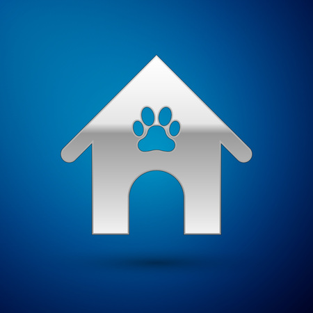 Silver Dog house and paw print pet icon isolated on blue background. Dog kennel. Vector Illustration