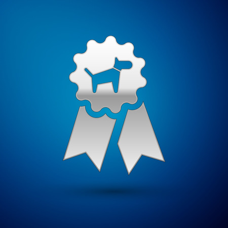 Silver Dog award symbol icon isolated on blue background. Medal with dog footprint as pets exhibition winner concept. Vector Illustration