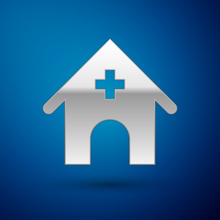 Silver Veterinary medicine hospital, clinic or pet shop for animals icon isolated on blue background. Vet or veterinarian clinic. Vector Illustration Stock Illustratie