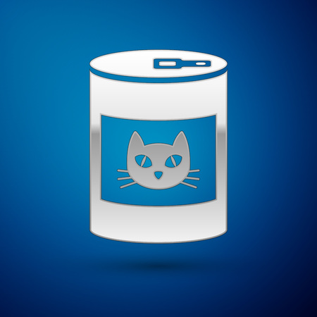 Silver Canned food for cat icon isolated on blue background. Food for animals. Pet dog food can. Vector Illustration Illustration