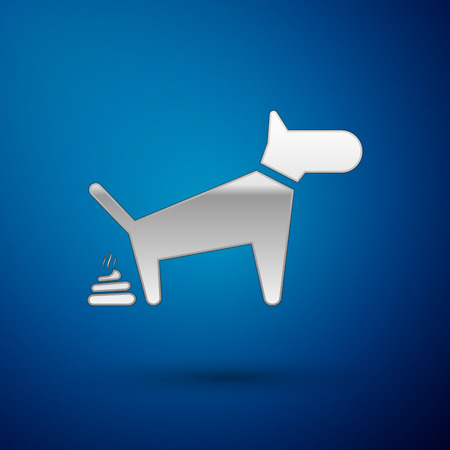 Silver Dog pooping icon isolated on blue background. Dog goes to the toilet. Dog defecates. The concept of place for walking pets. Vector Illustration Illustration