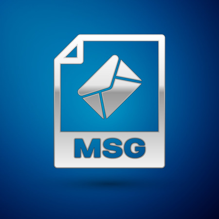 Silver MSG file document icon. Download msg button icon isolated on blue background. MSG file symbol. Vector Illustration Illustration