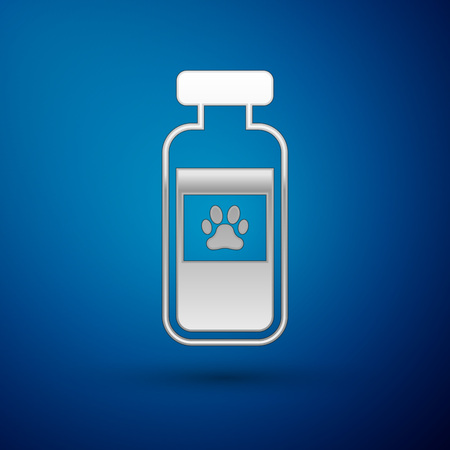 Silver Pets vial medical icon isolated on blue background. Prescription medicine for animal. Vector Illustration