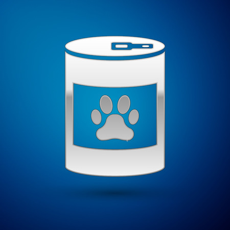Silver Canned food icon isolated on blue background. Food for animals. Pet food can. Dog or cat paw print. Vector Illustration Illustration